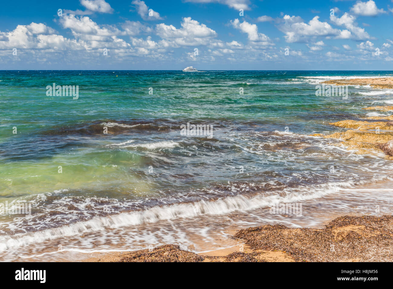 Mediterranean Sea view.  This picture was taken in the city of Paphos in Cyprus. - Stock Image
