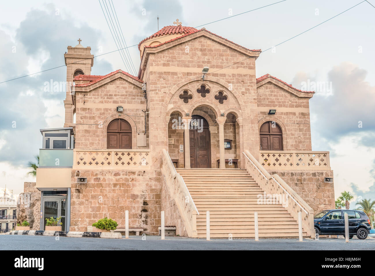 View of the Orthodox Church of Panagia Teoskepasti seventh century, Paphos, Cyprus. - Stock Image