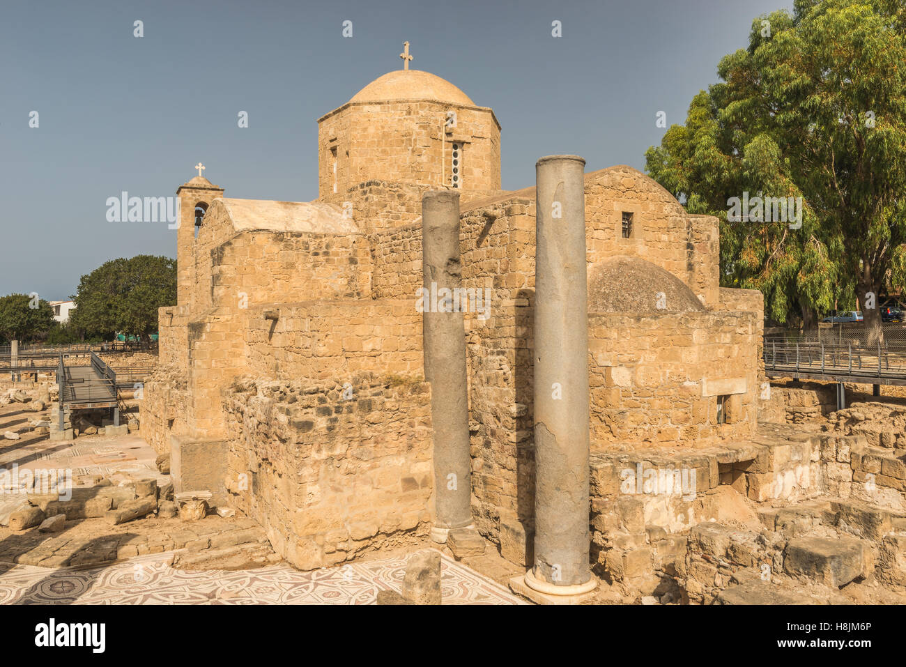 Chrysopolitissa Church of the fourth century in Paphos, Cyprus. - Stock Image