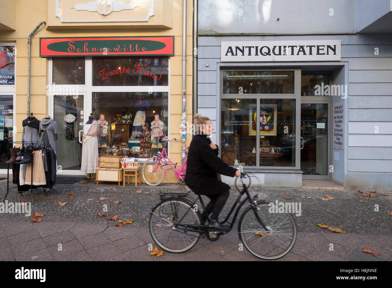Independent shops in  upmarket Hufelandstrasse in gentrified district of Prenzlauer Berg in Berlin Germany - Stock Image