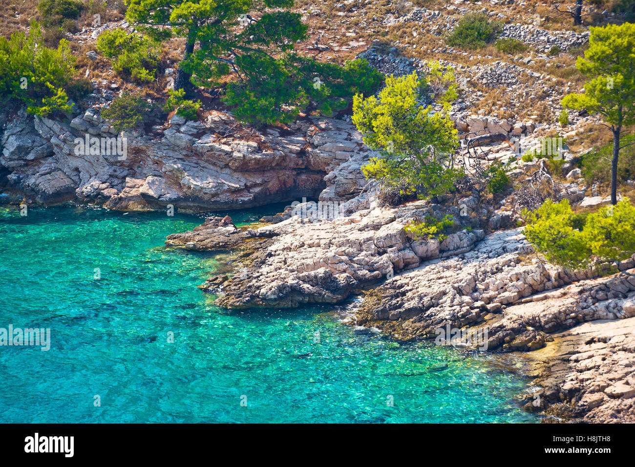 Secret turquoise beach on Brac island, Dalmatia, Croatia - Stock Image