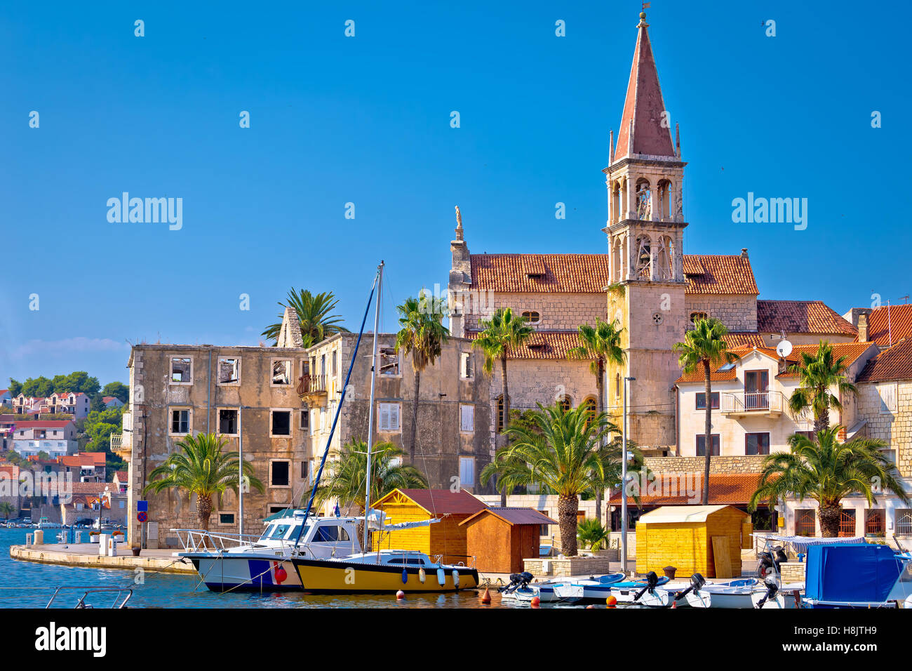 Town of Milna historic skyline, Island of Brac, Dalmatia, Croatia - Stock Image