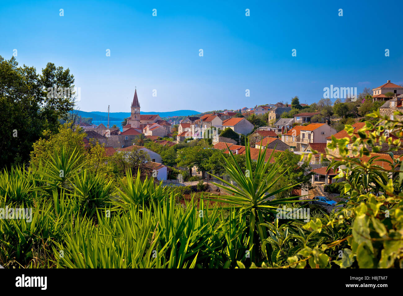 Town of Milna coast view, Island of Brac, Dalmatia, Croatia - Stock Image