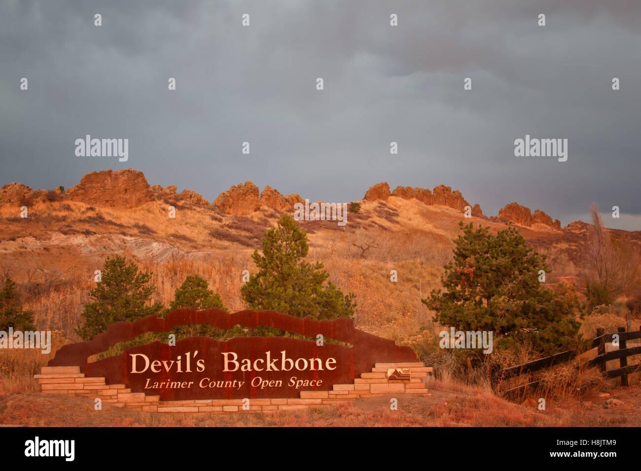 Devil's Backbone Larimer County Open Space - popular hiking and biking open space in Loveland Colorado - Stock Image
