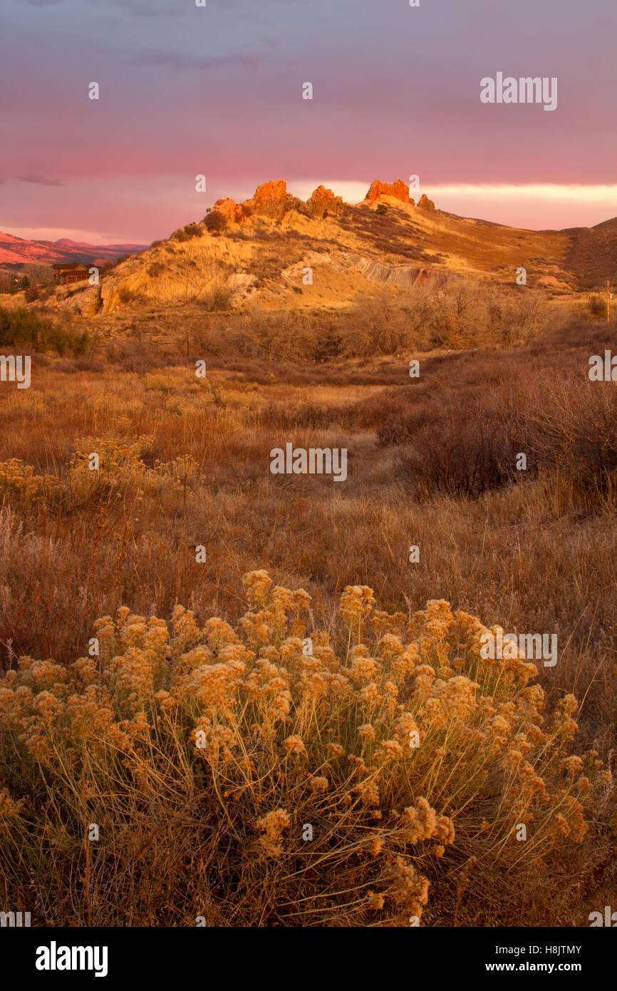 Beautiful light show at Devil's backbone Open Space in Loveland, Colorado - Stock Image