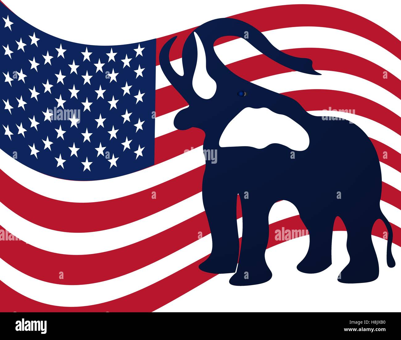 Republican elephant in the background of the American flag. Republican victory in US elections. illustration - Stock Image