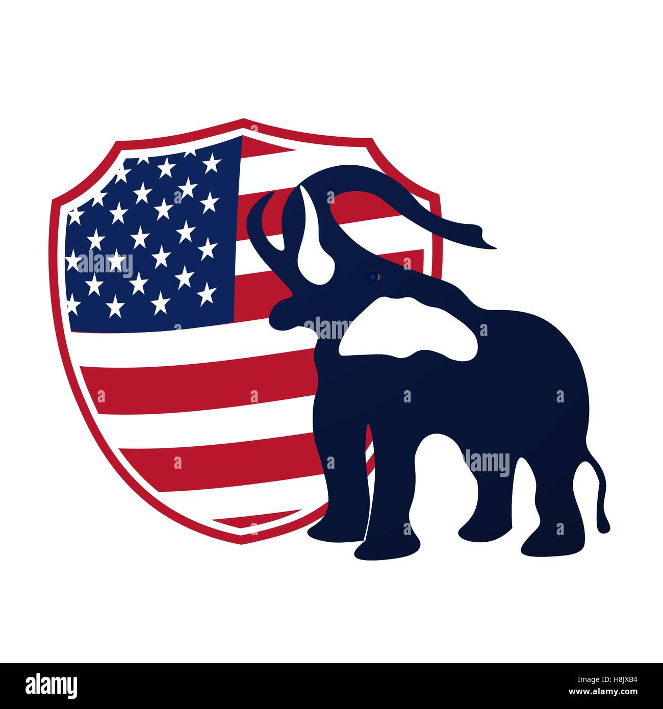 Republican elephant in the background of the shield in the colors of the American flag. Republican victory in US - Stock Image