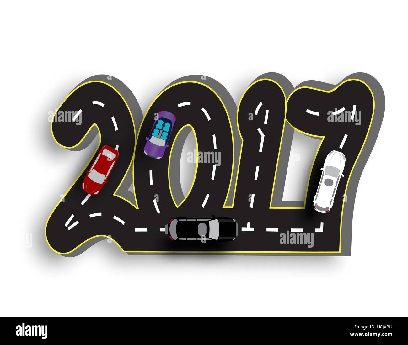 Road with a marking in the form of inscriptions 2017. 3D. Cars . illustration - Stock Image