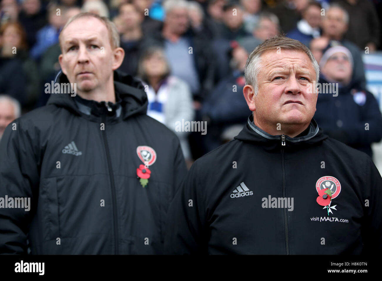 Sheffield United manager Chris Wilder (right) and assistant Alan Knill (left) during the Sky Bet League One match - Stock Image