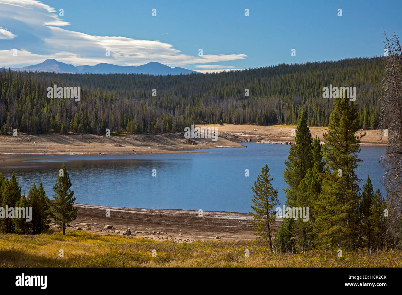 Tabernash, Colorado - Meadow Creek Reservoir, on the west side of the Continental Divide, supplies water to Denver. - Stock Image