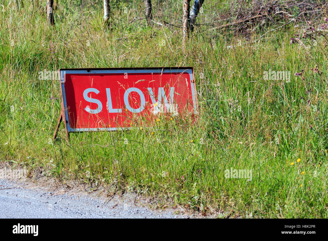 Red road warning sign advising slow speed - Stock Image