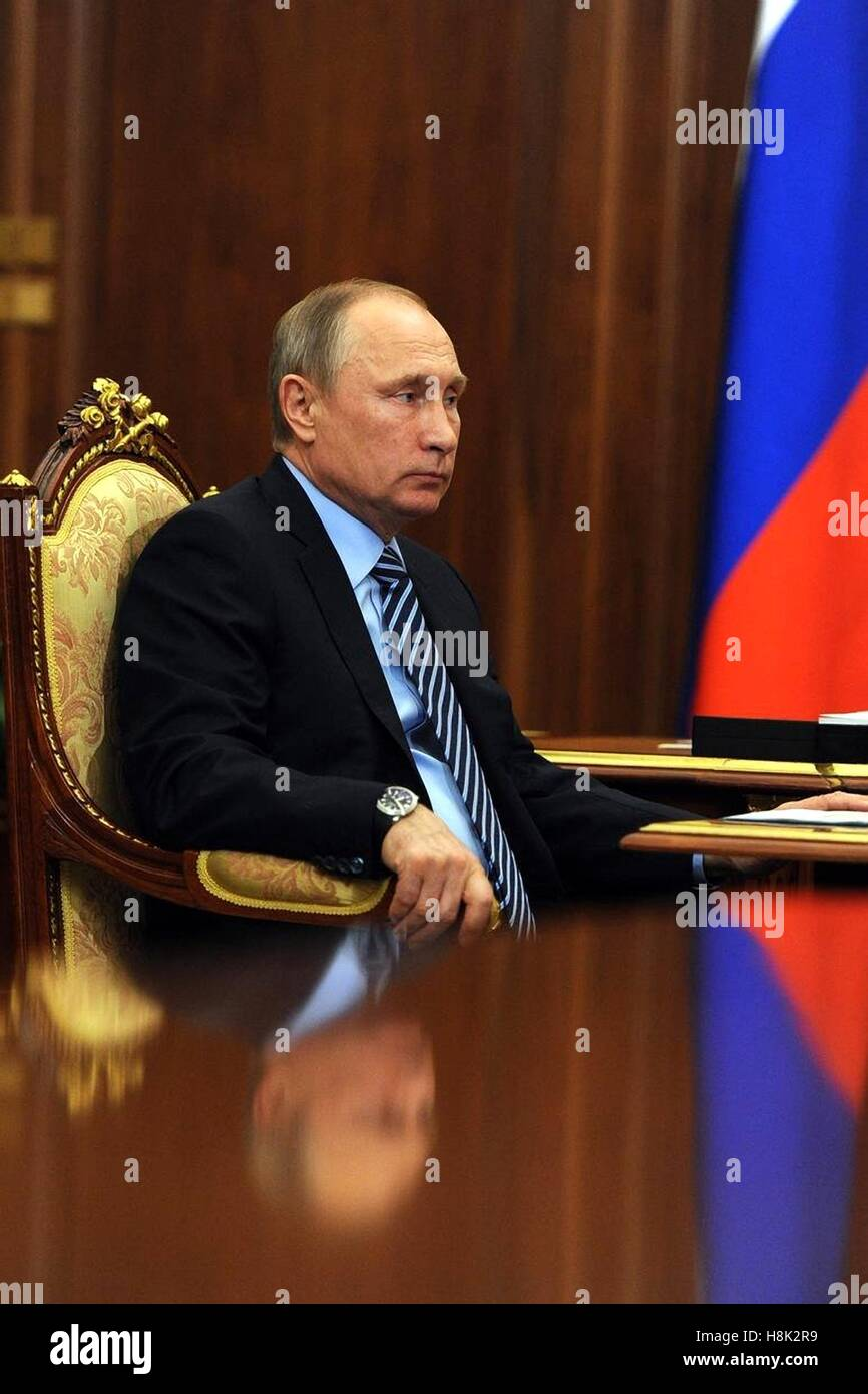Russian President Vladimir Putin during a meeting with Deputy Prime Minister Dmitry Rogozin in the Kremlin November - Stock Image