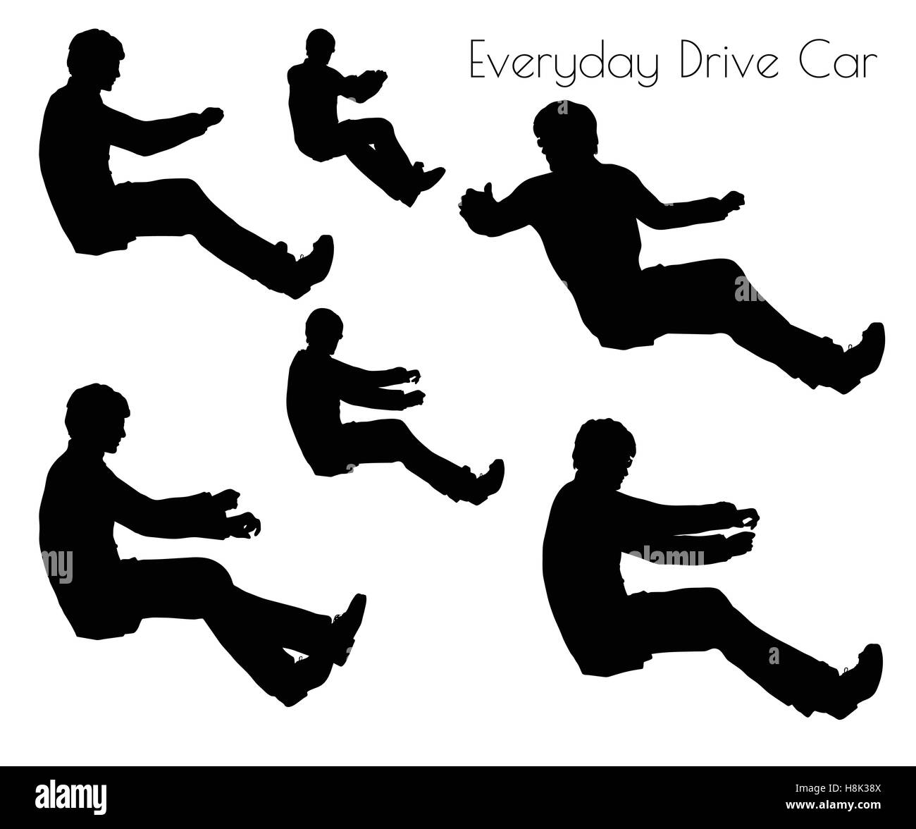 EPS 10 vector illustration of man in Driving Car pose on white background - Stock Image