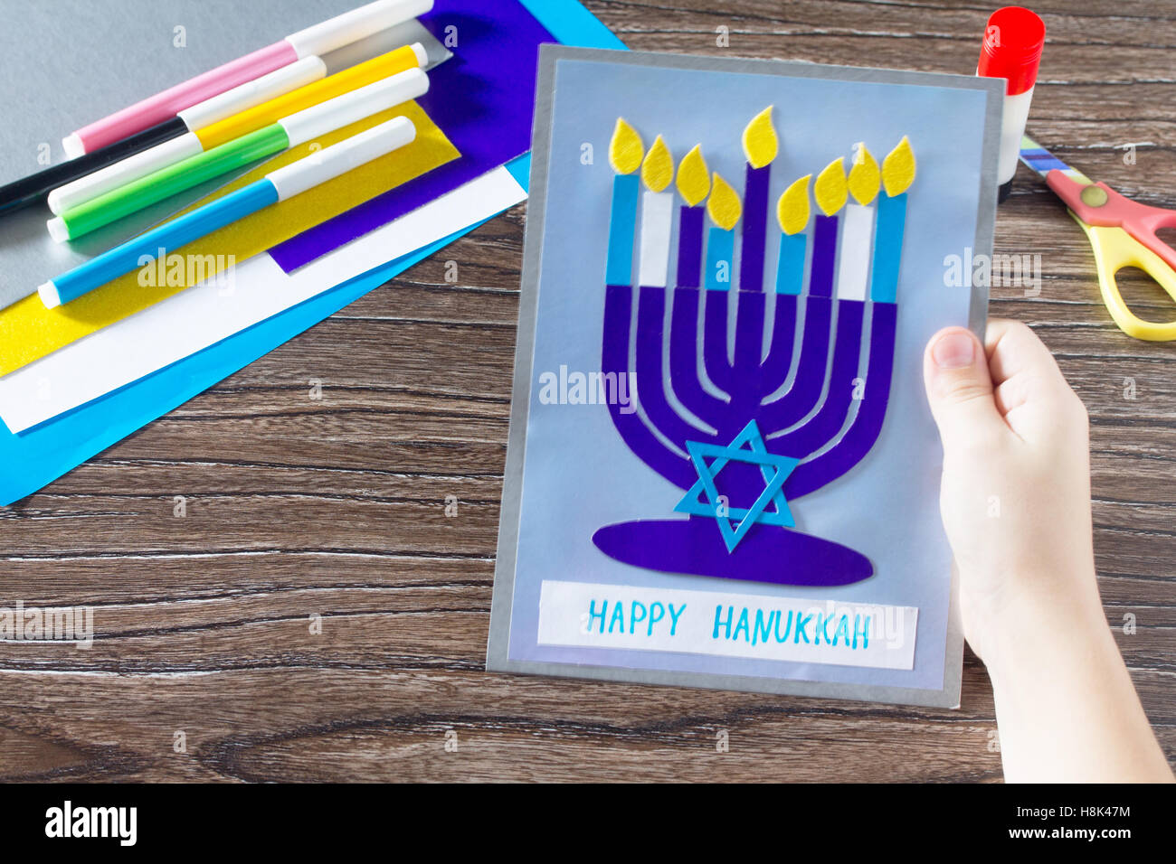 The Child Create A Greeting Card Image Of The Jewish Holiday Of
