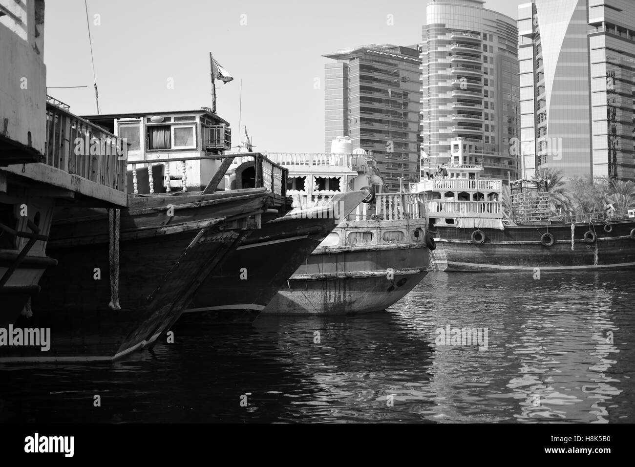 Boats in Dubai habour - Stock Image