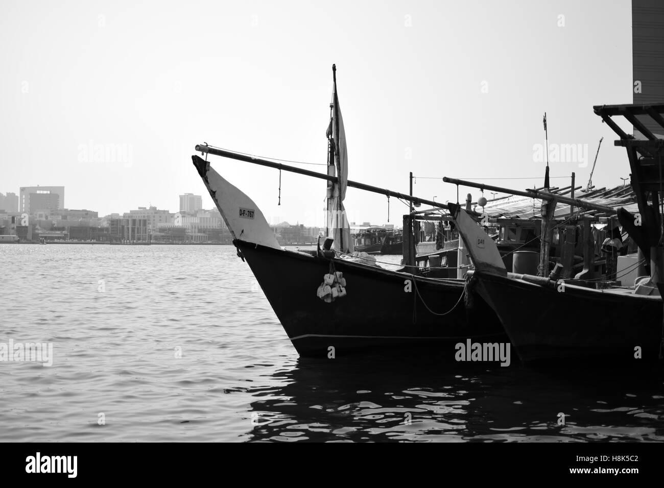 Boats in Dubai Harbour - Stock Image