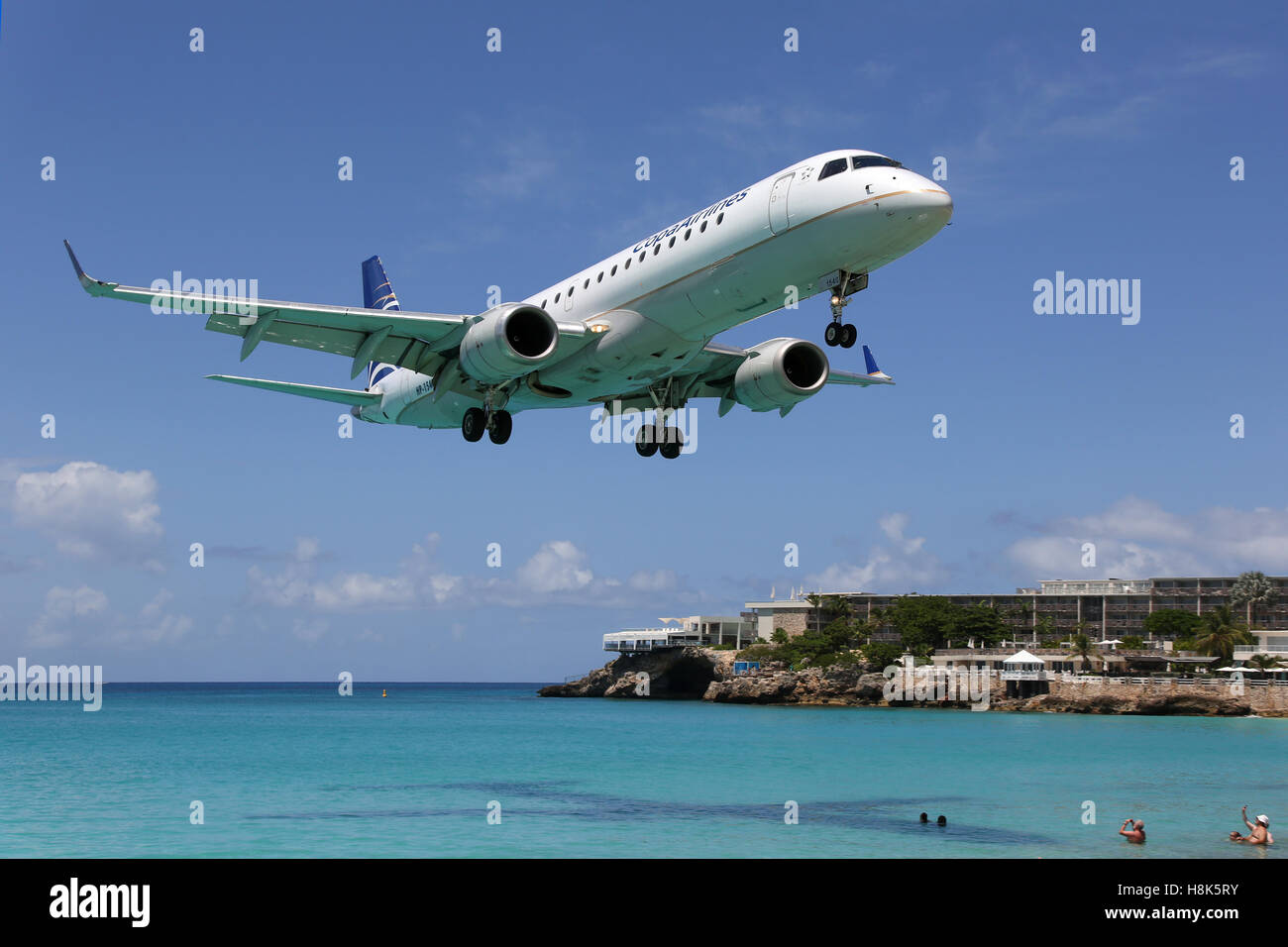 Sint Maarten, Netherlands Antilles - September 20, 2016: A Copa Airlines Embraer ERJ190 with the registration HP - Stock Image