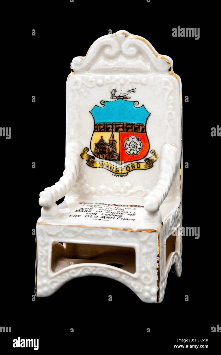 Crested china armchair by Carlton China, featuring the Coat of Arms of the village of Wansford in Cambridgeshire - Stock Image