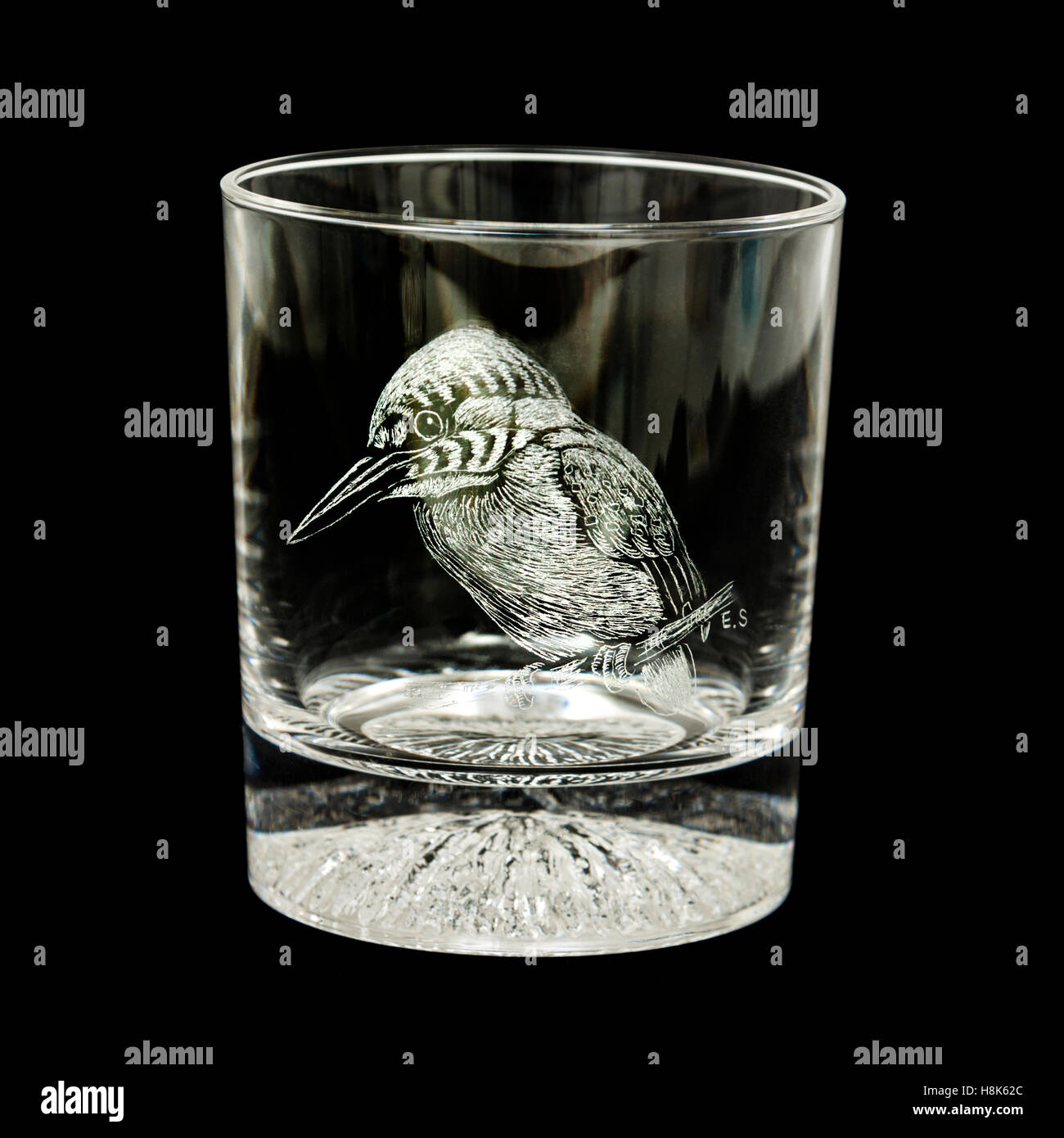 Kingfisher engraved on Caithness crystal glass by Edward Shadbolt MGMC using the 16th art of handheld diamond point - Stock Image