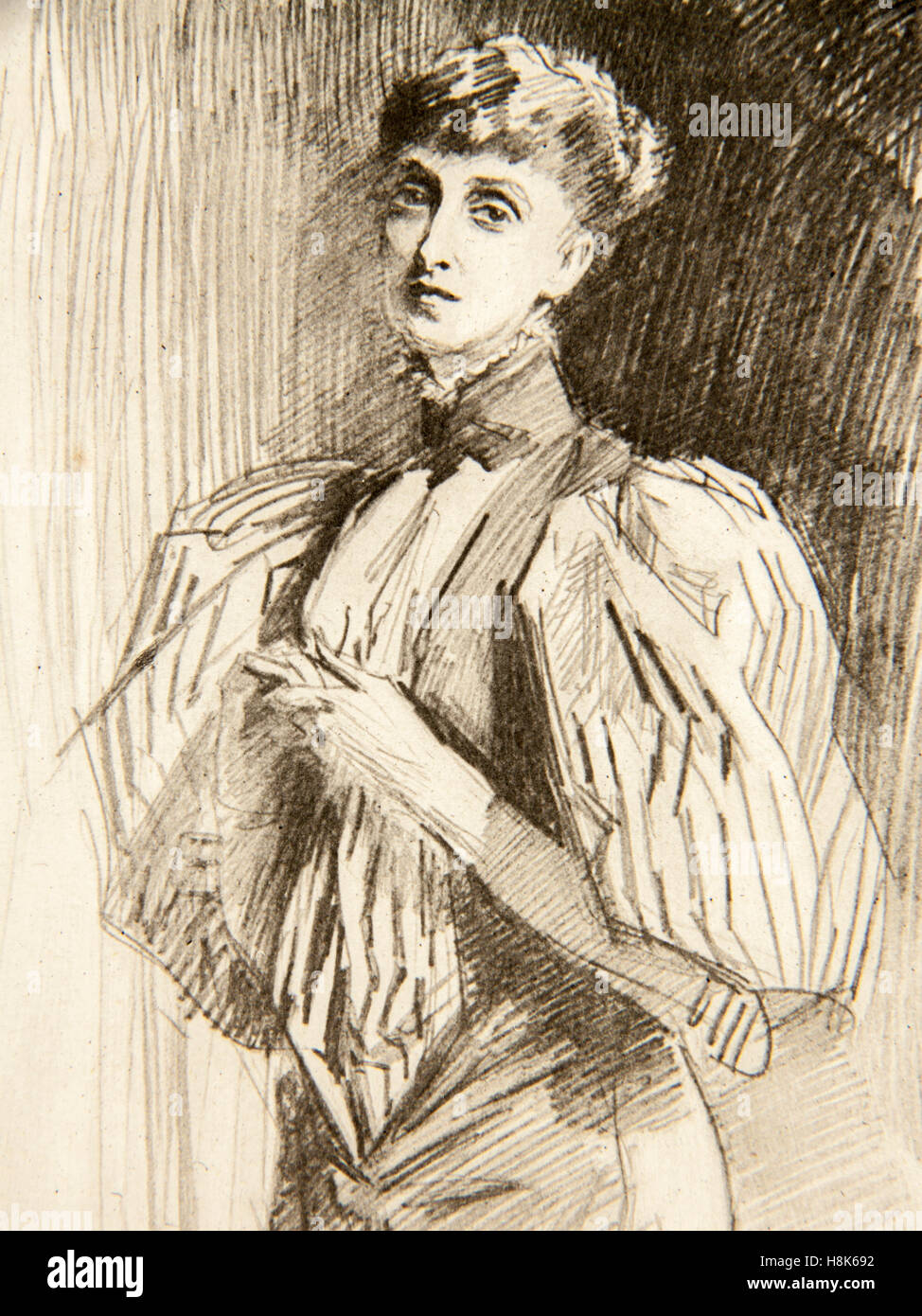Drawing of Alice Meynell (1847-1922) by John Singer Sargent