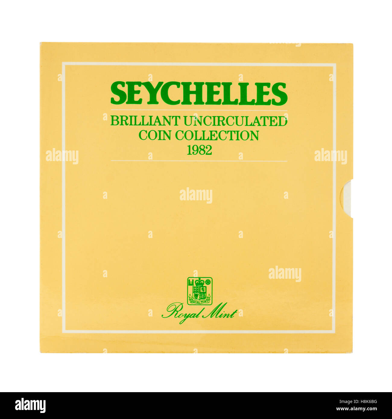 Central Bank of Seychelles set of 1982 uncirculated coins, issued by the Royal Mint - Stock Image