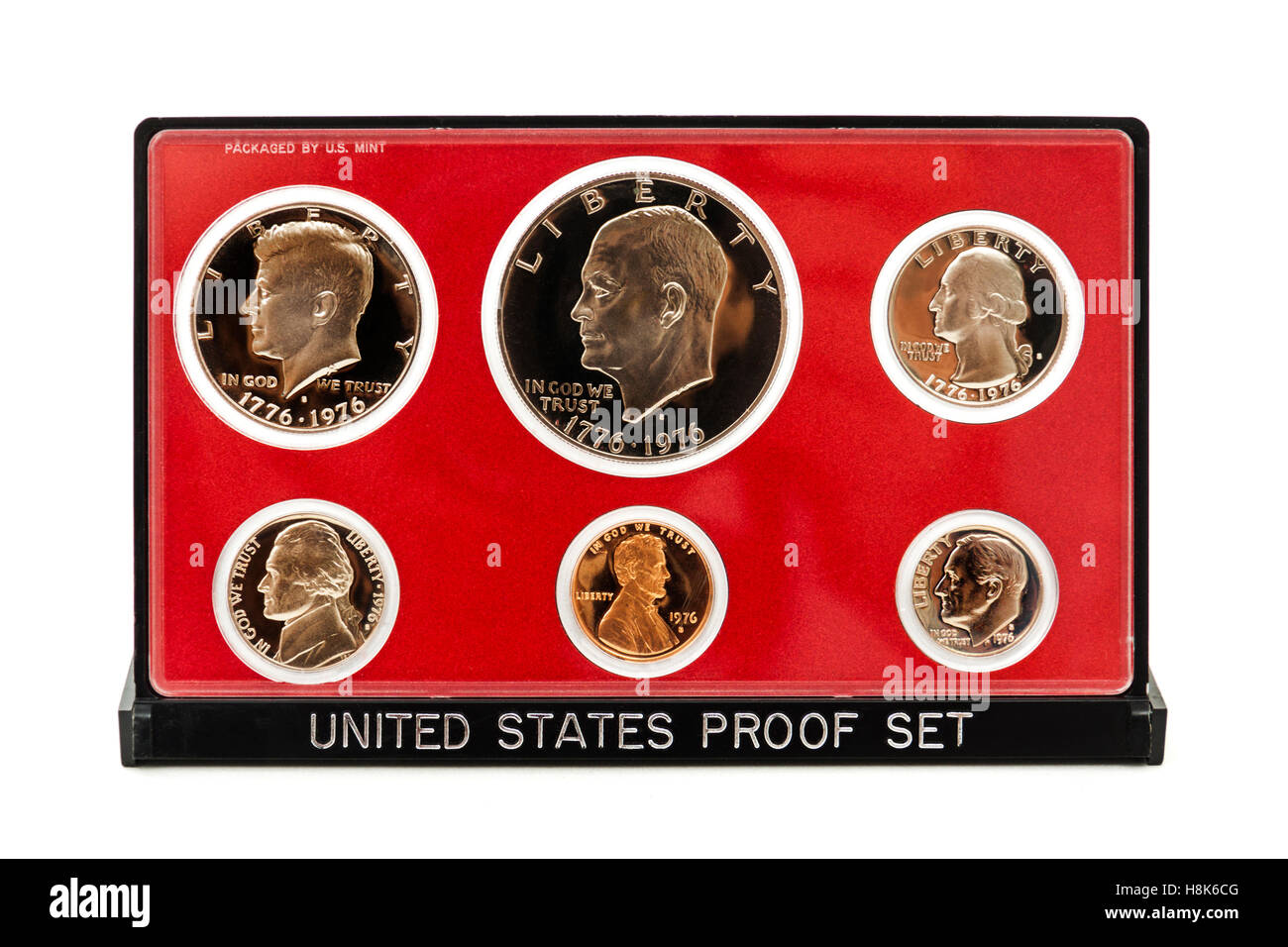 1976 United States Bicentennial Proof Set. Each set contained six coins: One example each of the Lincoln Cent, Jefferson - Stock Image