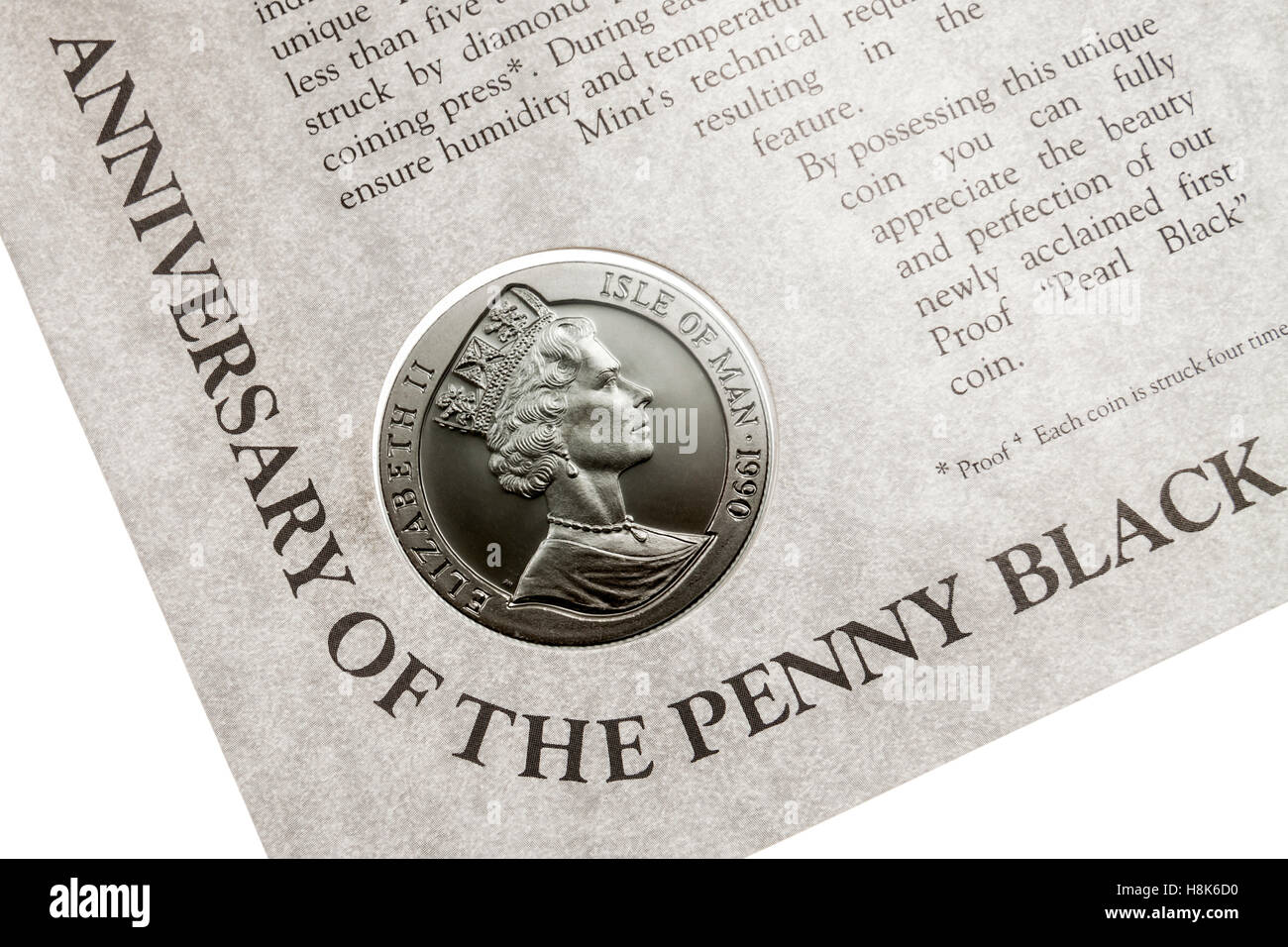 'Pearl Black' coin issued by the Pobjoy Mint in 1990 to commemorate  the 150th anniversary of the Penny - Stock Image