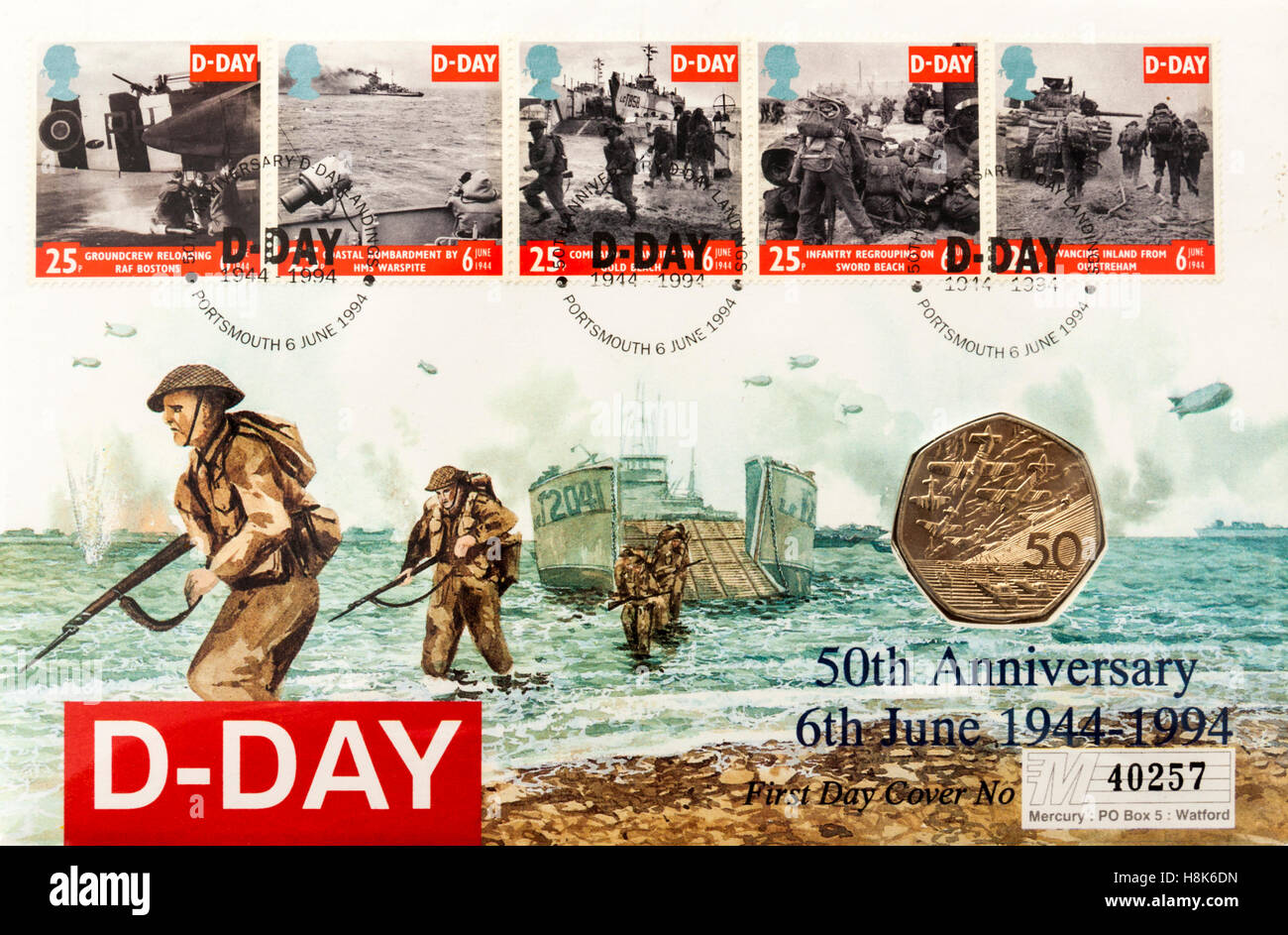 Great Britain 50p D-Day Coin First Day Cover (6th June 1994) to commemorate the 50th Anniversary of D-Day. In the - Stock Image