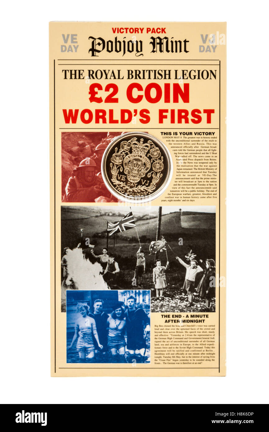 Commemorative £2 VE Day (Victory in Europe) coin issued by the Pobjoy Mint (Isle of Man) for the Royal British - Stock Image
