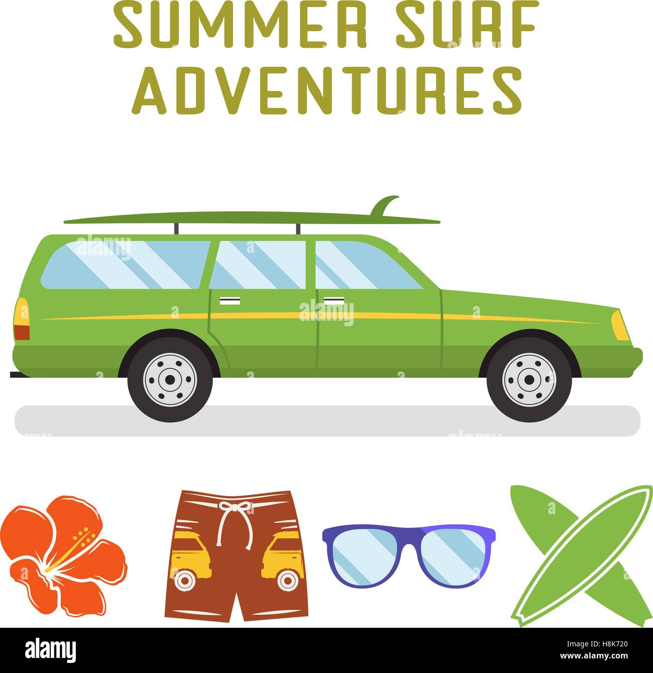 Vector retro flat surf car design and elements - surfboards
