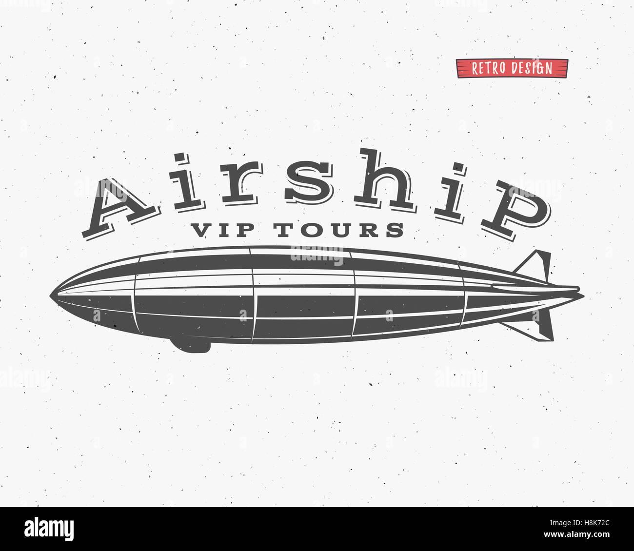 vintage airship background retro dirigible balloon vip tours label