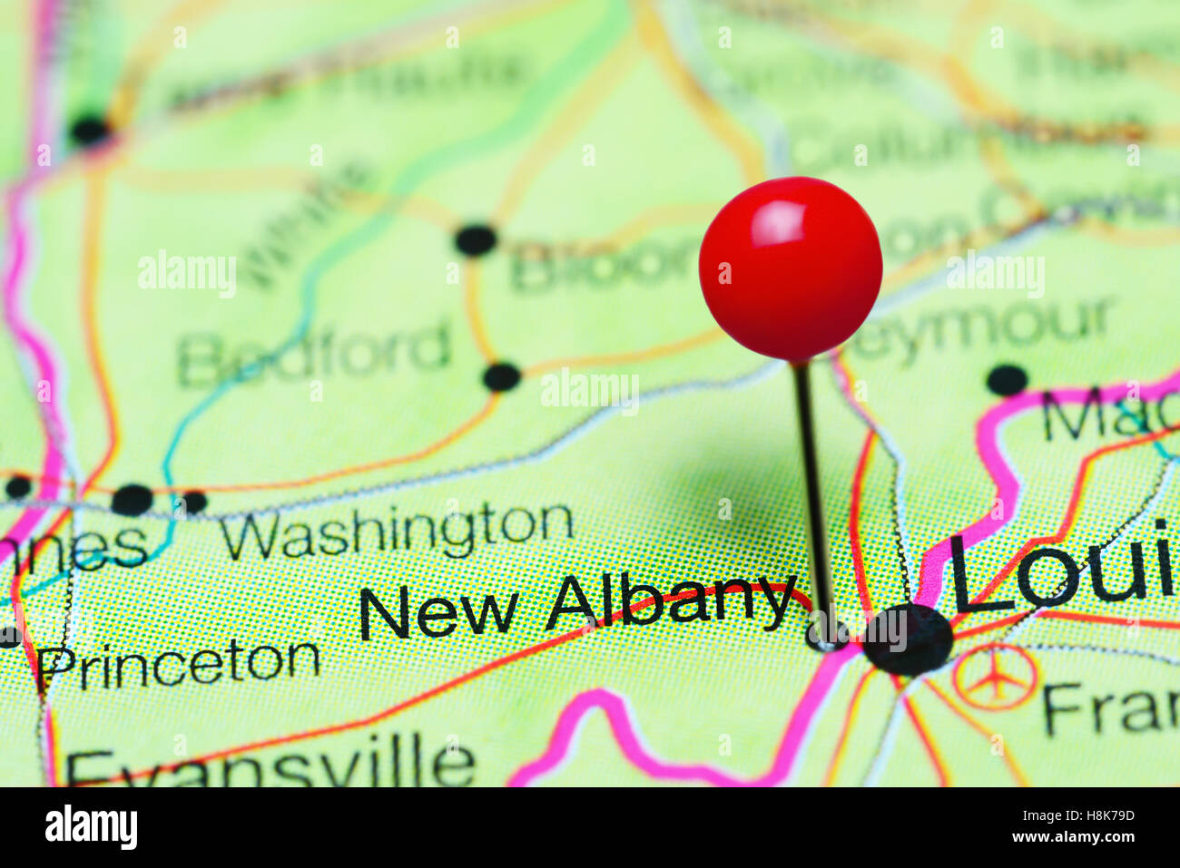 Albany Indiana Map.New Albany Pinned On A Map Of Indiana Usa Stock Photo 125812665