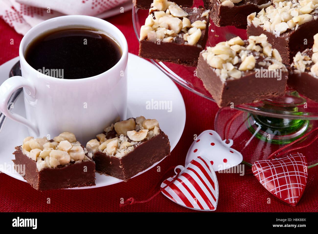 Mocha hazelnut fudge - Stock Image