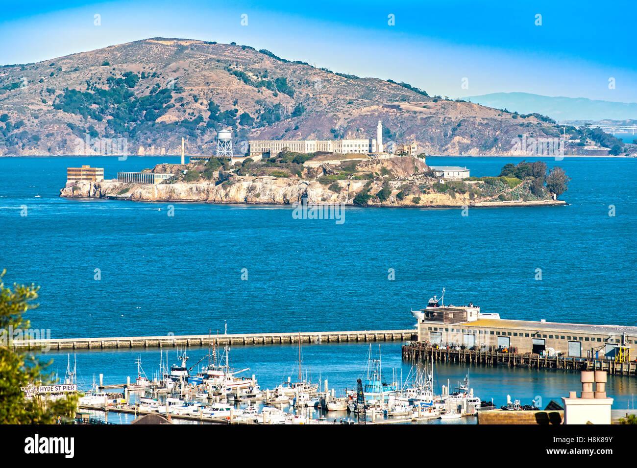Alcatraz Island in San Francisco, California, USA. Stock Photo