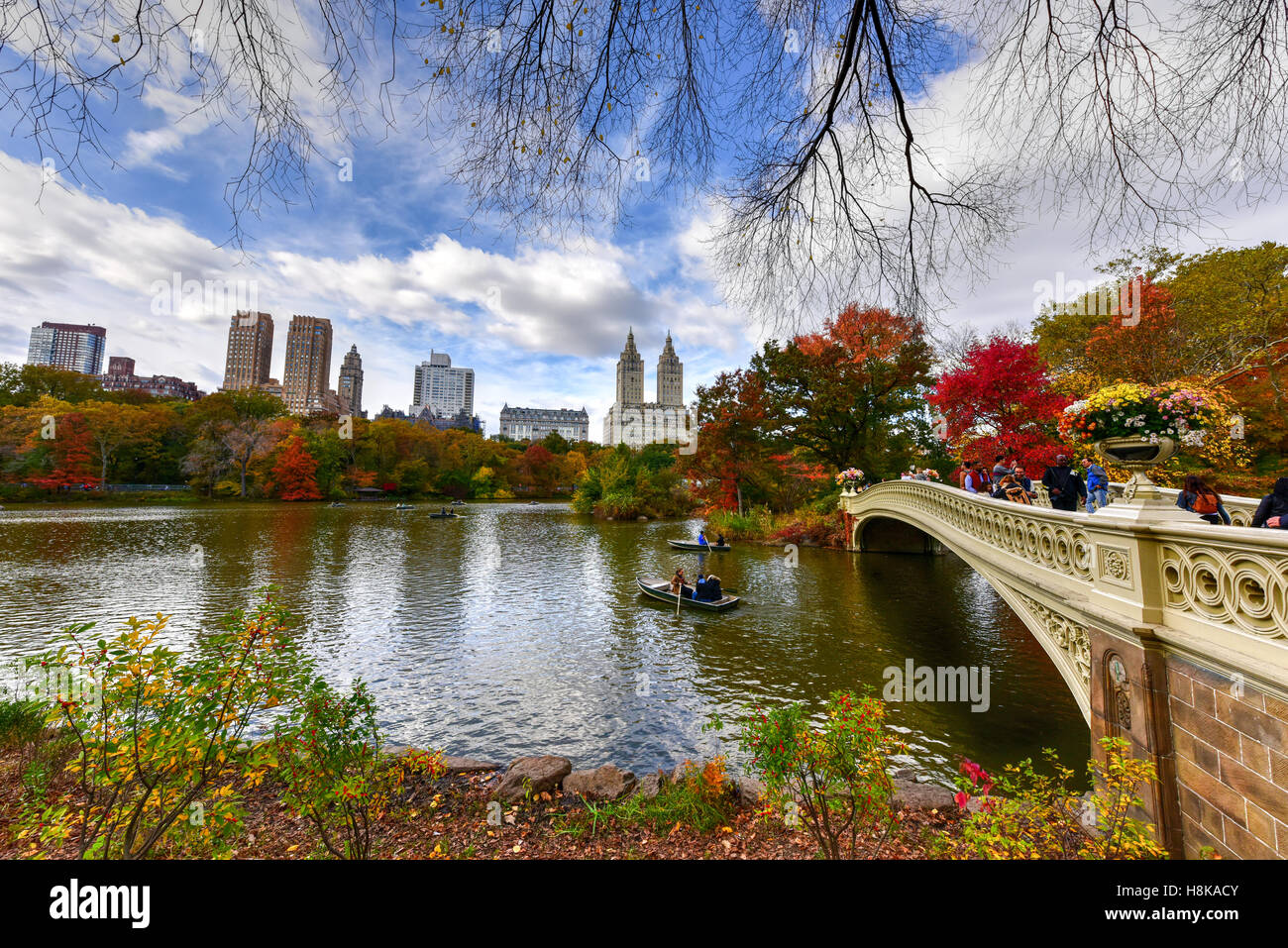 Bow Bridge in the autumn in Central Park, New York City. - Stock Image