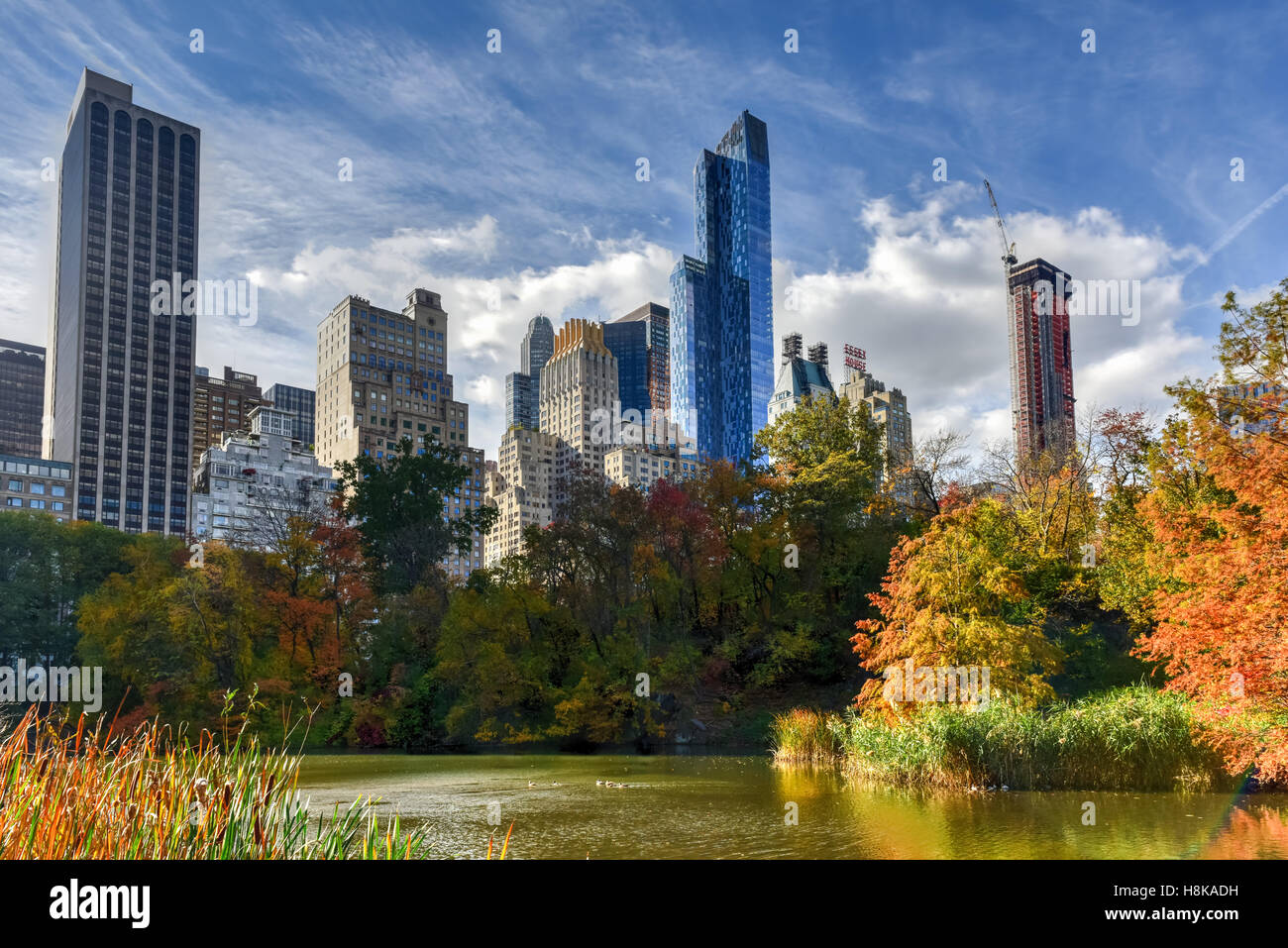 View of Central Park South in New York City in the Autumn. - Stock Image