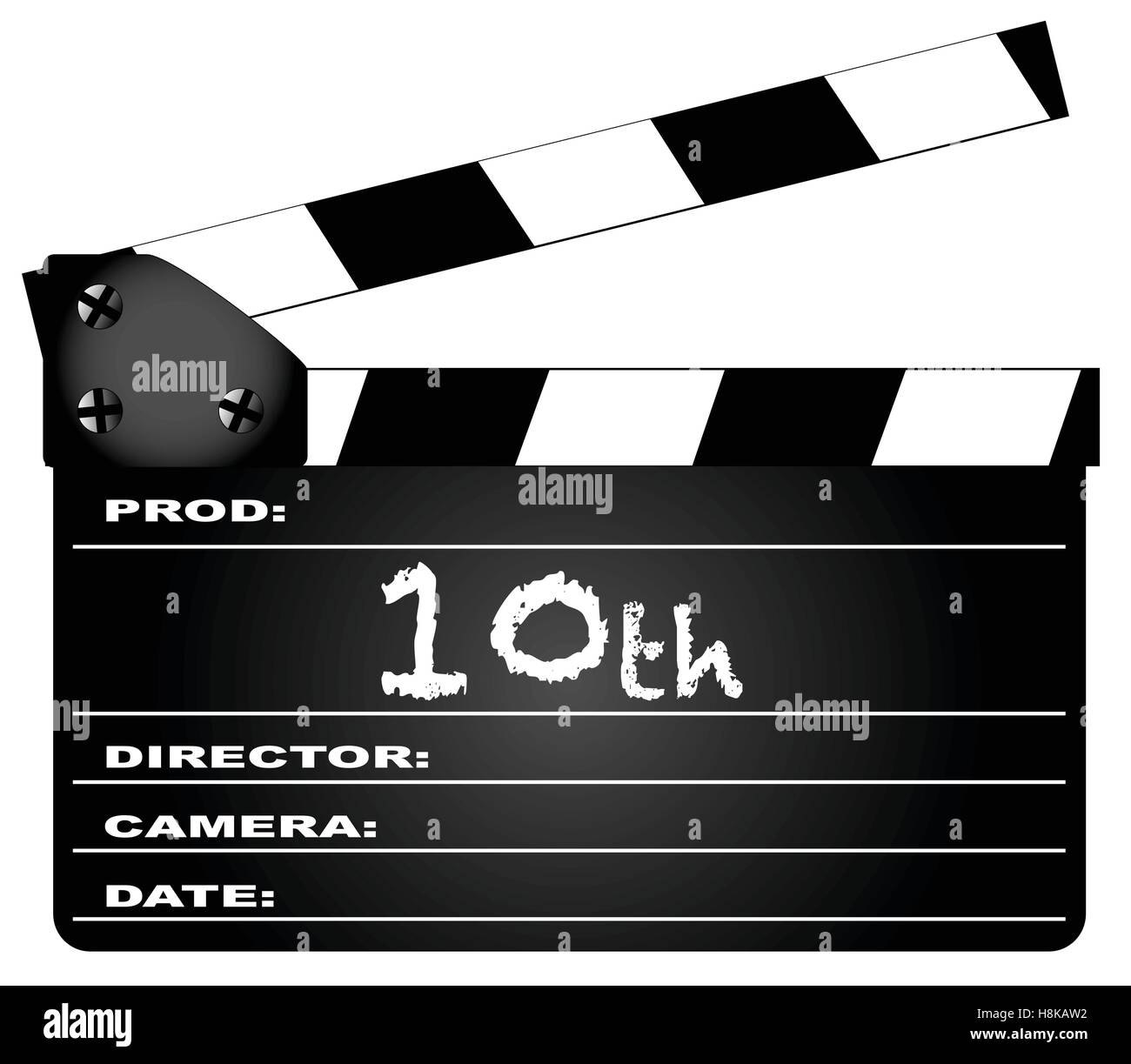 A typical movie clapperboard with the legend 10th isolated on white. - Stock Vector