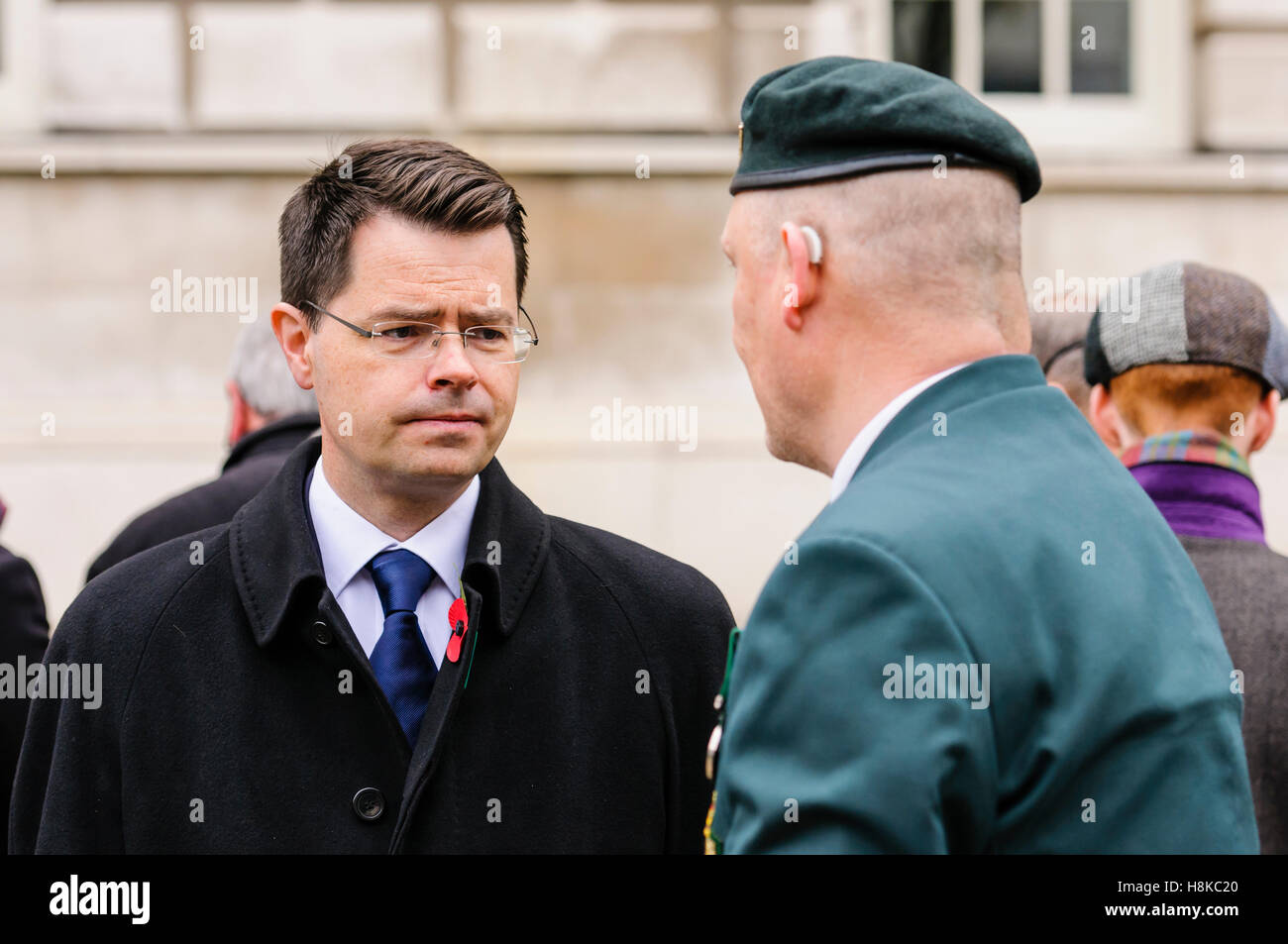 Belfast, Northern, Ireland. 13th Nov, 2016. Secretary of State for Northern Ireland, James Brokenshire MP chats Stock Photo