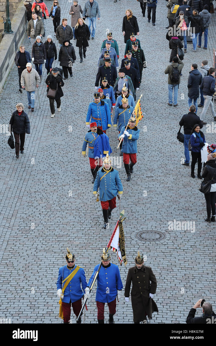Prague, Czech Republic. 13th Nov, 2016. Historical military units marched through Prague to mark the 250th birth - Stock Image