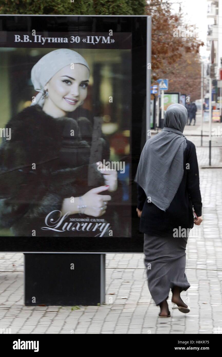 GROZNY, RUSSIA - NOVEMBER 13, 2016: A woman wearing hijab [Muslim women's traditional headwear]. Valery Matytsin/TASS - Stock Image