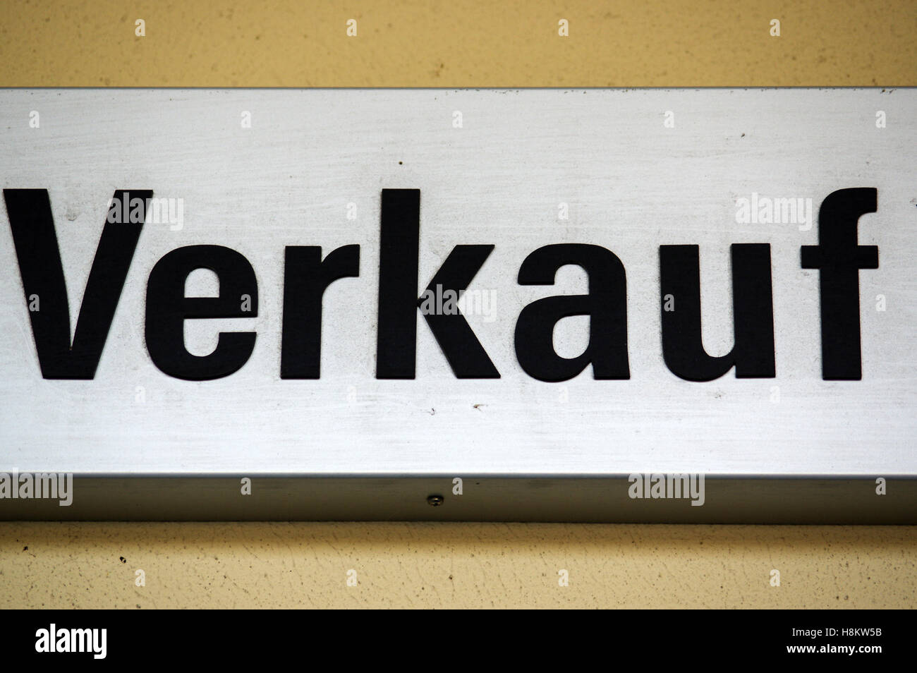 a sign or shield with - VERKAUF - in German, translation to English - SALE, closeup - Stock Image