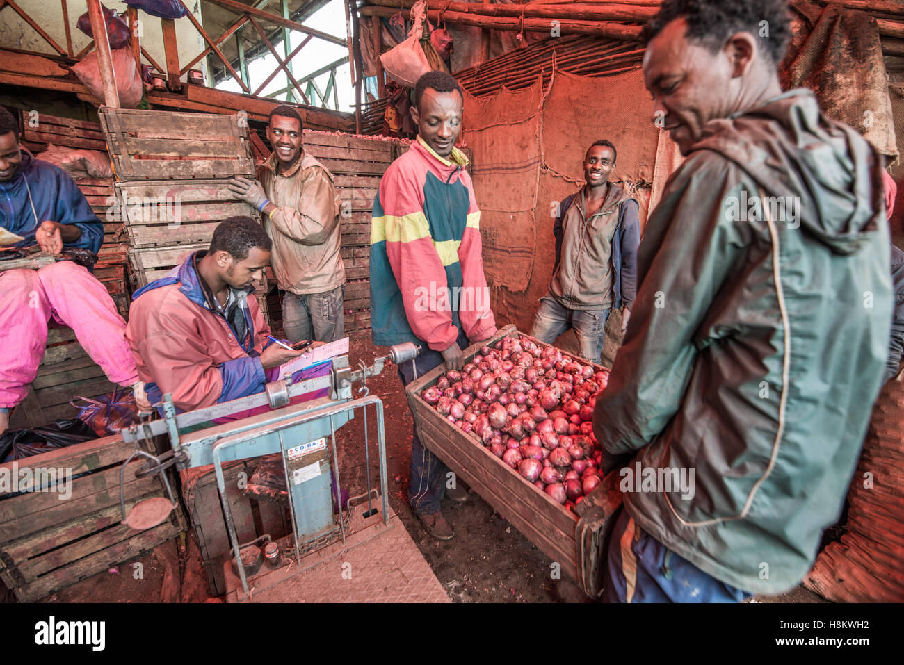 Addis Ababa, Ethiopia- Onions for sale at the Addis Mercato, the largest open air market in Africa. - Stock Image