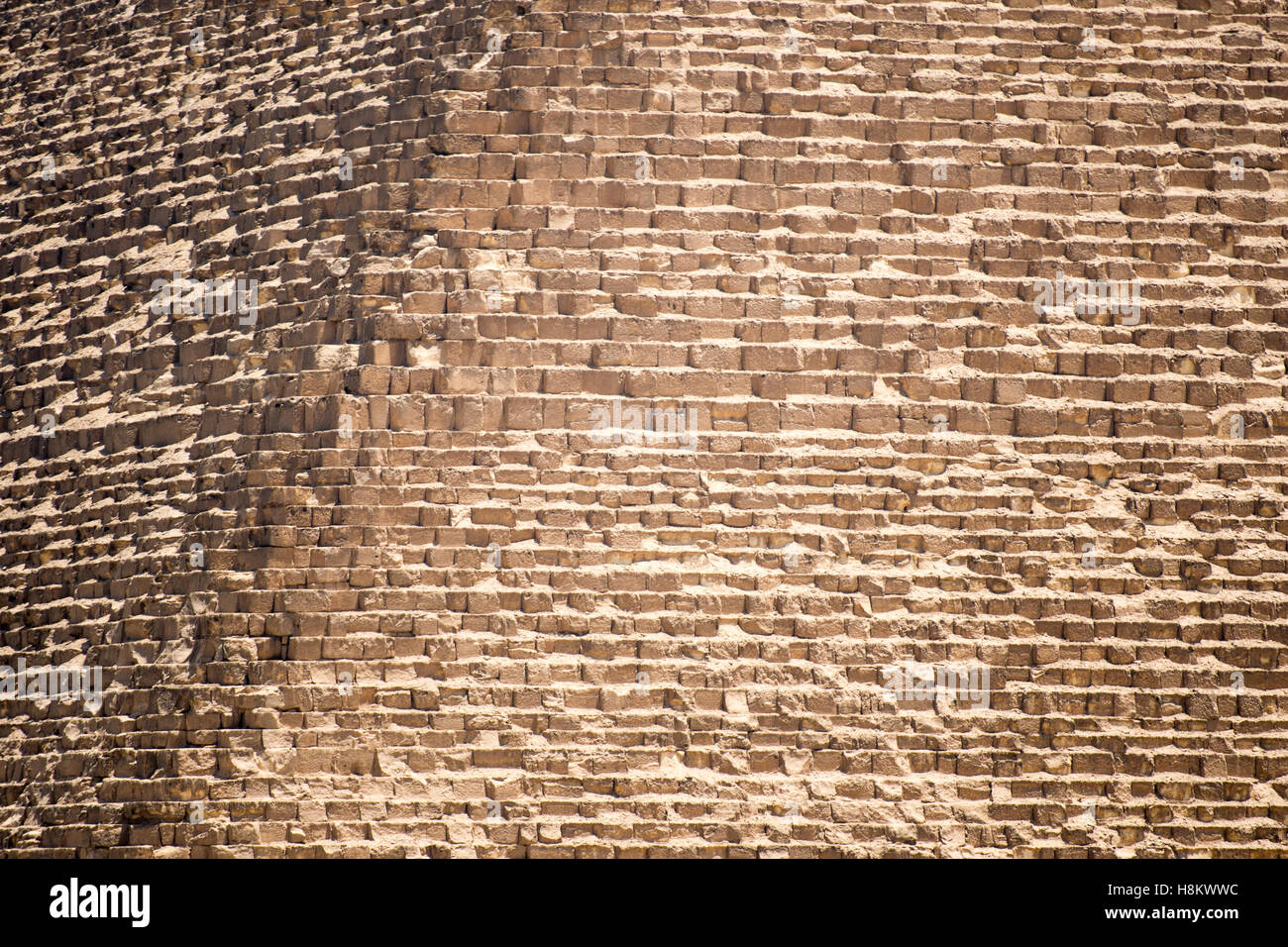 Cairo, Egypt. Close up view of the casing stones (limestone) that make up The Great Pyramids of Giza. - Stock Image