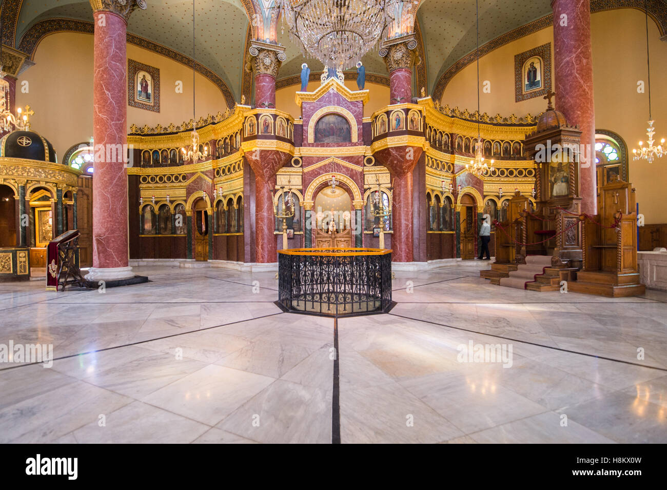 Cairo, Egypt. Ornate interior of the rebuilt Monastery of St George in the Coptic Quarter in Cairo. - Stock Image