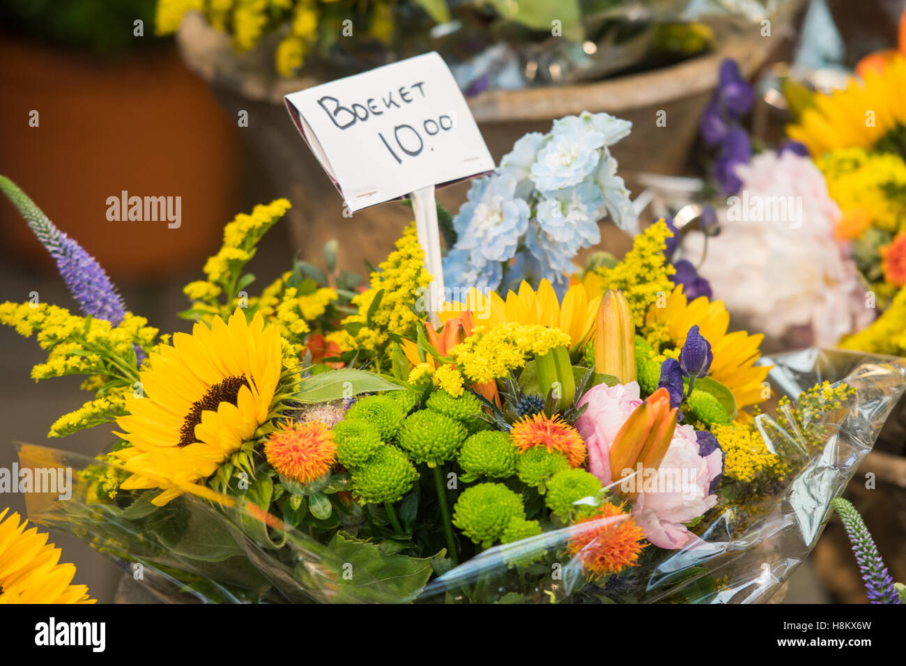 Amsterdam Netherlands Close Up Of Bouquets Of Mixed Types Of Stock