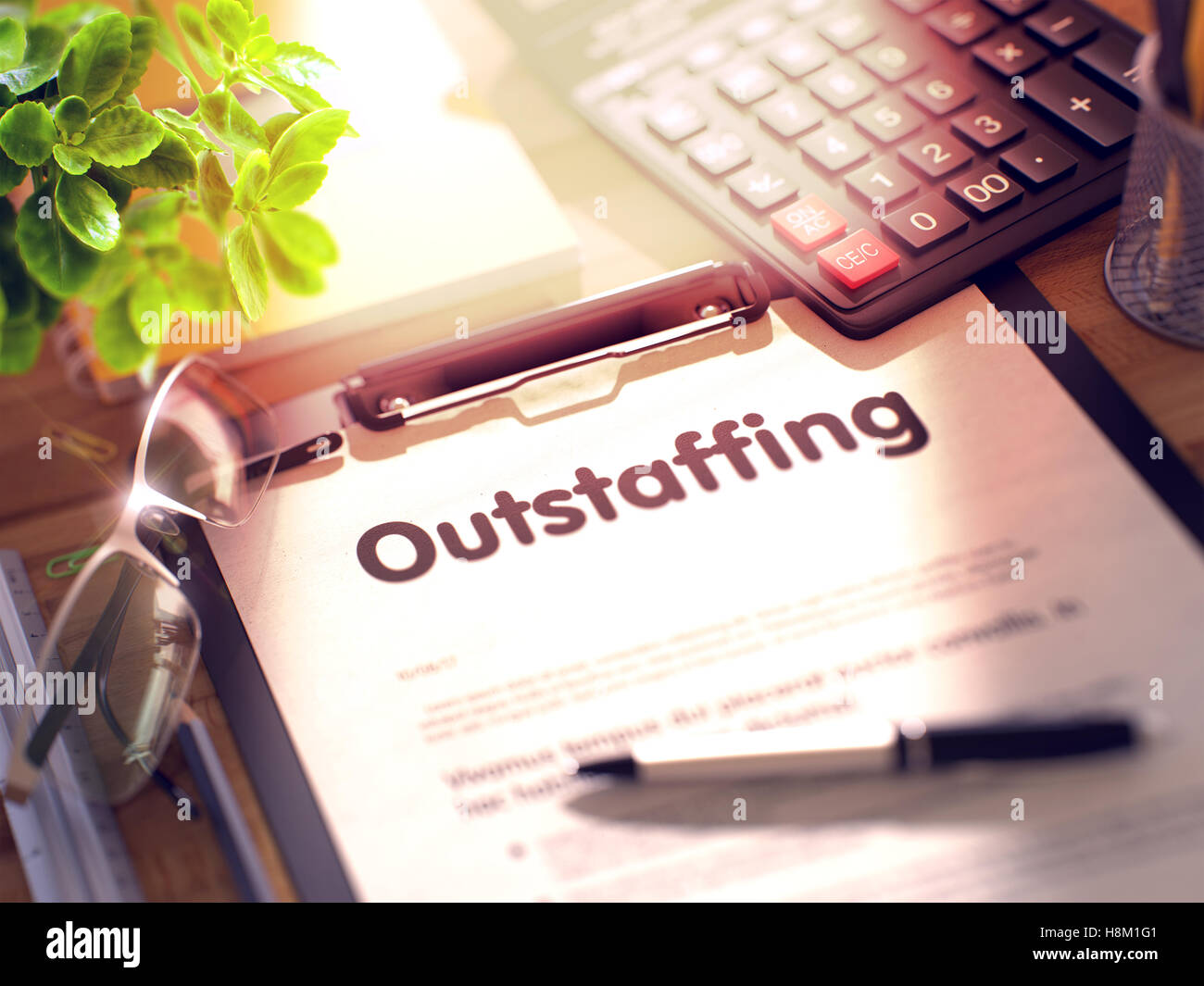 Clipboard with Outstaffing. 3D. - Stock Image