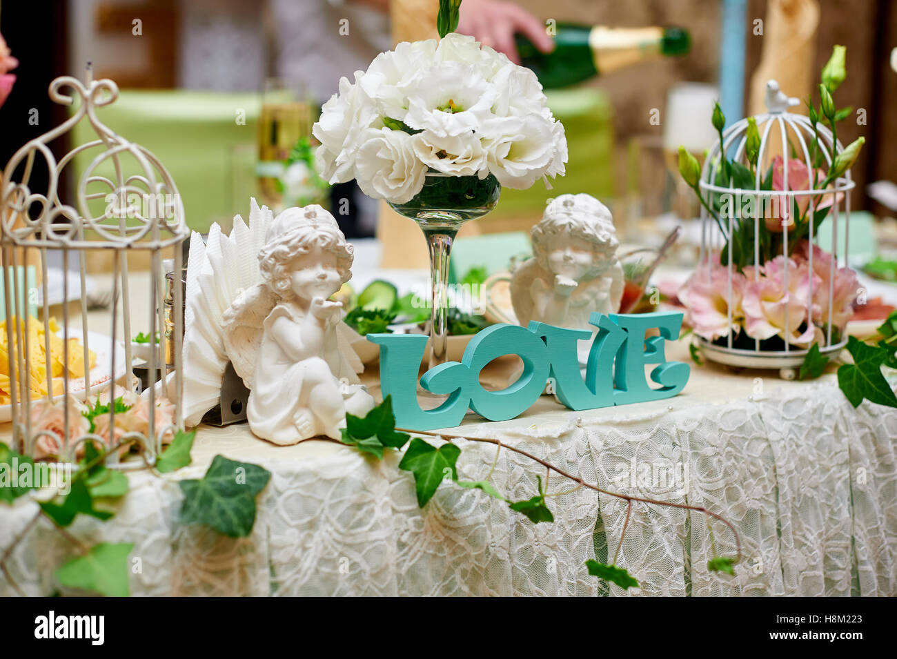 Wedding Decorations Of Flowers And Accessories On The Table Stock