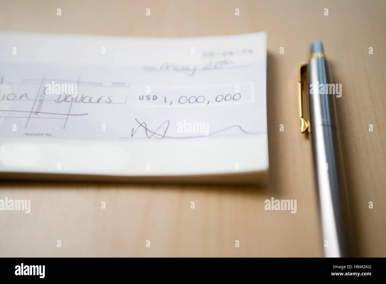 One Million Dollar Cheque - Stock Image