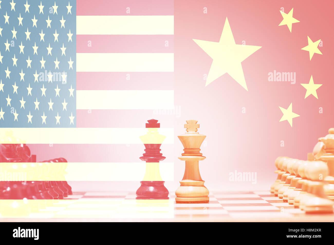 China vs USA Chess Game - Stock Image