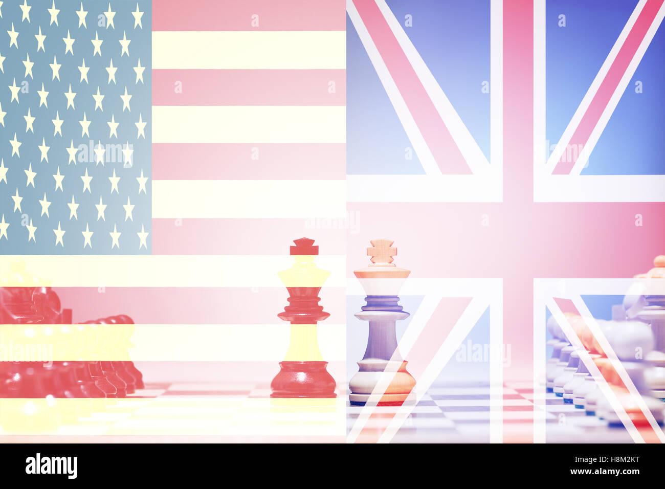 Chess game USA vs UK - Stock Image